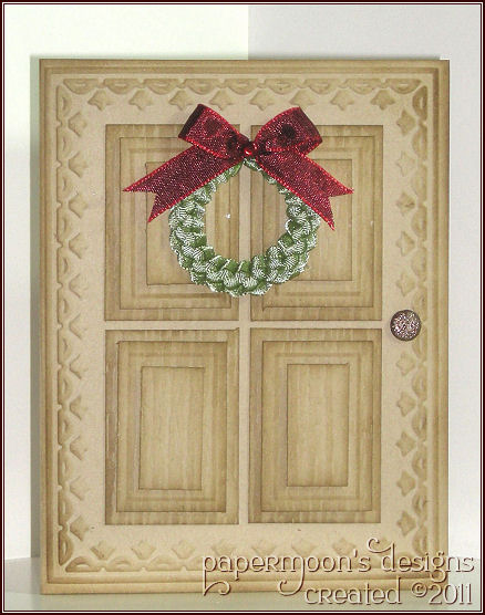 Christmas Door with Ribbon Wreath